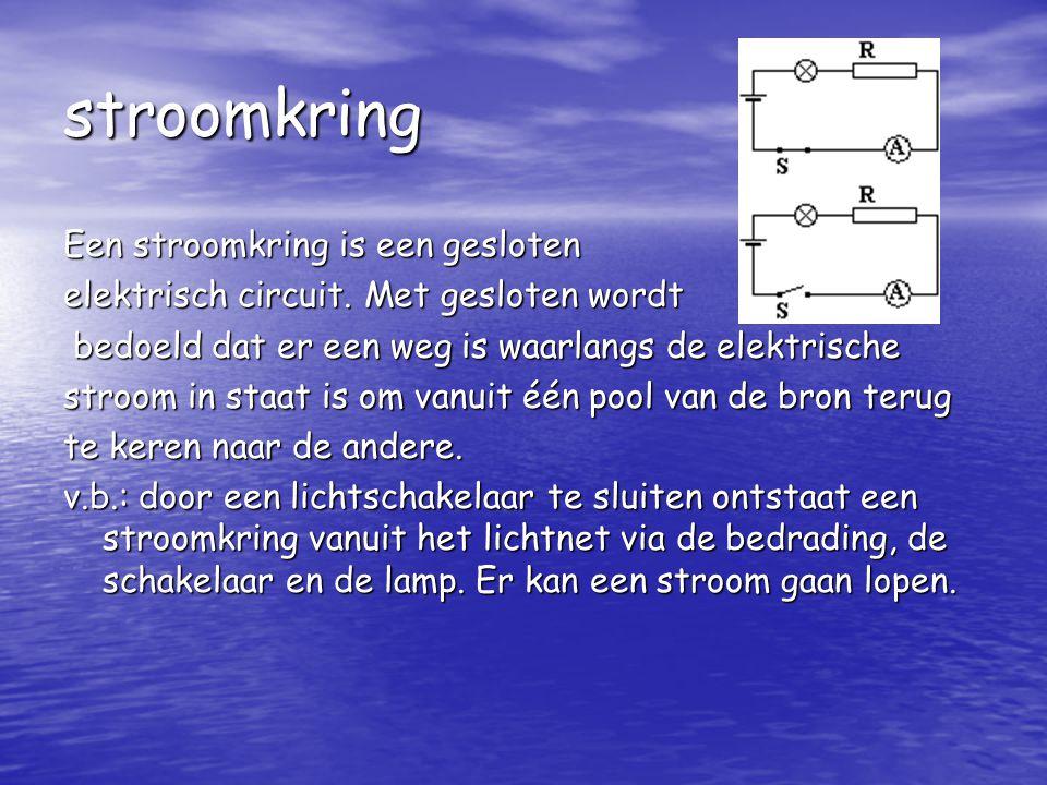 stroomkring Een stroomkring is een gesloten elektrisch circuit.