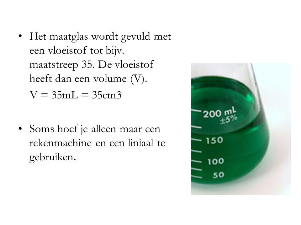 Het maatglas wordt gevuld met een vloeistof tot bijv.