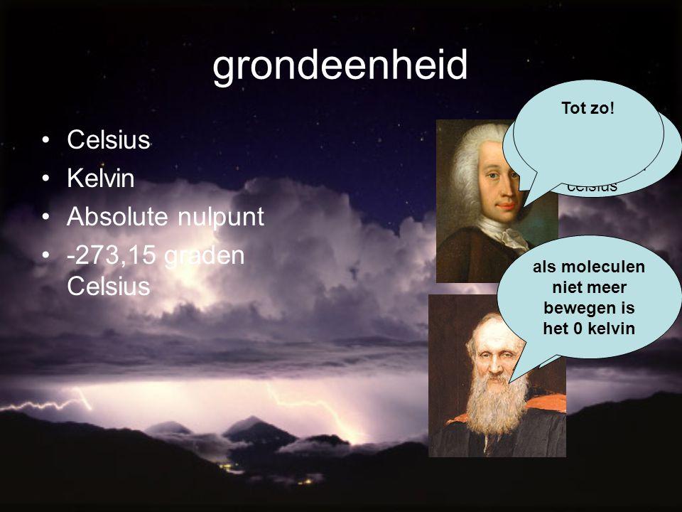 grondeenheid Celsius Kelvin Absolute nulpunt -273,15 graden Celsius Ben ik weer! Hee! Wacht op mij! Het absolute nulpunt is - 273,15 graden celsius Of