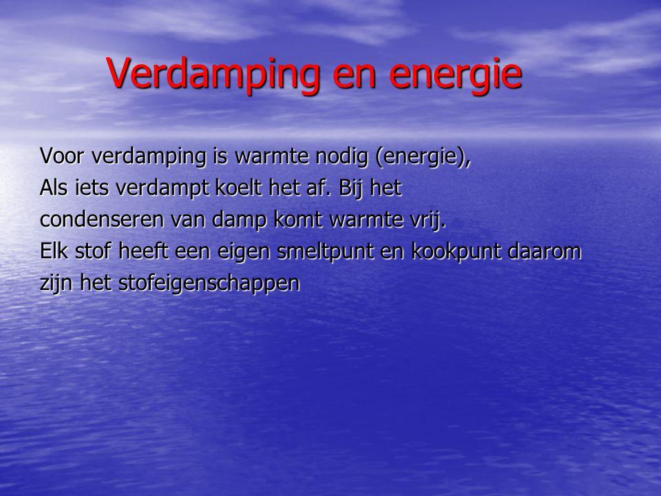Verdamping en energie Voor verdamping is warmte nodig (energie), Als iets verdampt koelt het af. Bij het condenseren van damp komt warmte vrij. Elk st