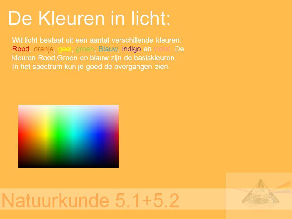 De Kleuren in licht: Wit licht bestaat uit een aantal verschillende kleuren: Rood, oranje, geel, groen, Blauw, indigo en violet. De kleuren Rood,Groen
