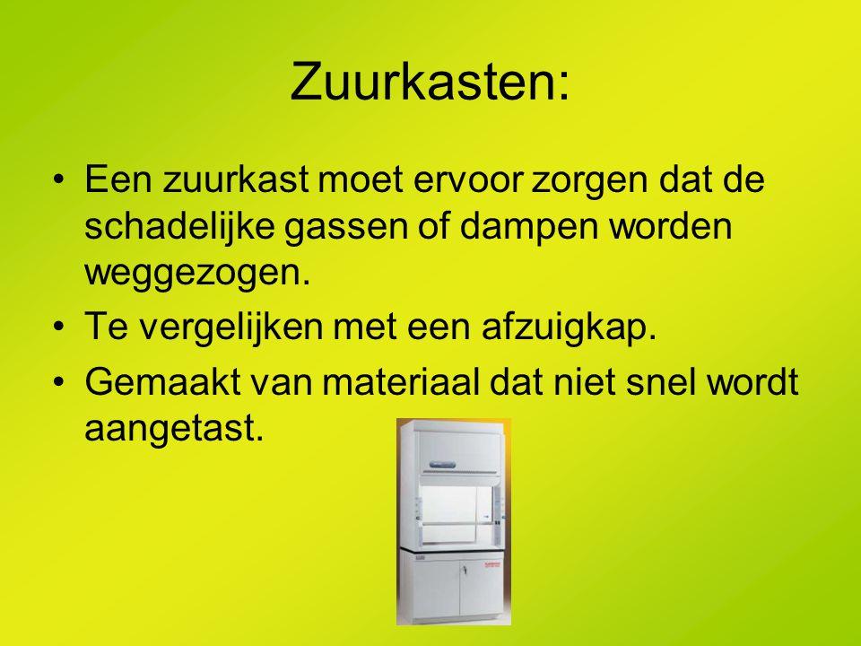 Zuurkasten: Een zuurkast moet ervoor zorgen dat de schadelijke gassen of dampen worden weggezogen. Te vergelijken met een afzuigkap. Gemaakt van mater