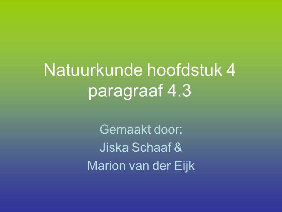 Natuurkunde hoofdstuk 4 paragraaf 4.3 Gemaakt door: Jiska Schaaf & Marion van der Eijk