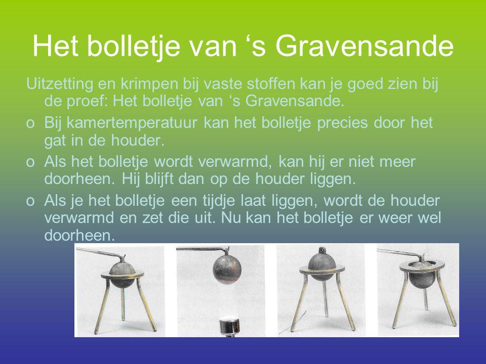 Het bolletje van 's Gravensande Uitzetting en krimpen bij vaste stoffen kan je goed zien bij de proef: Het bolletje van 's Gravensande. oBij kamertemp
