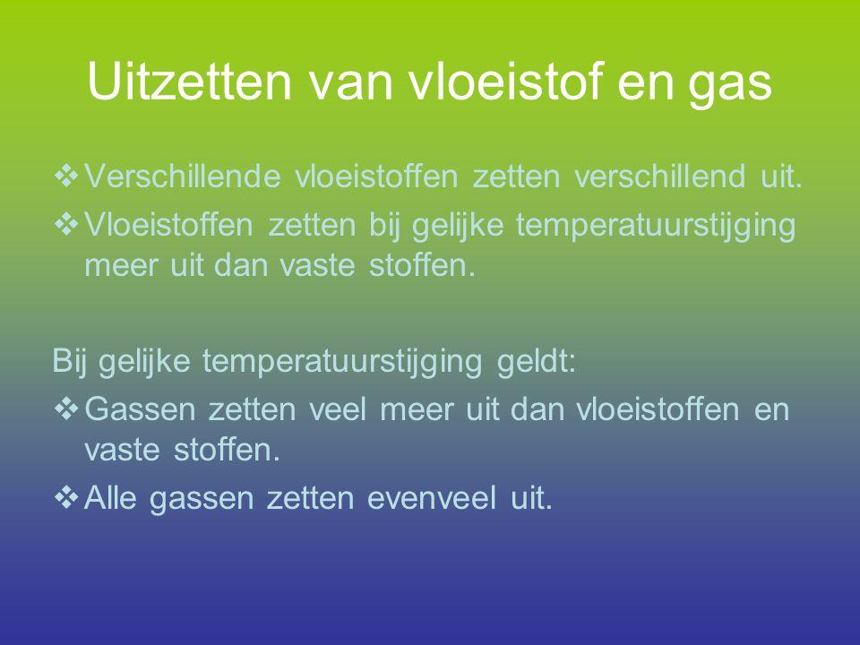 Uitzetten van vloeistof en gas  Verschillende vloeistoffen zetten verschillend uit.  Vloeistoffen zetten bij gelijke temperatuurstijging meer uit da