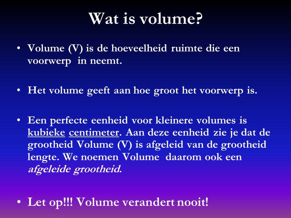 We gaan het hebben over: Wat is volume? Hoe bereken je het volume? Wat is inhoud? Hoe bereken je de inhoud? Hoe bereken je dichtheid? De conclusie