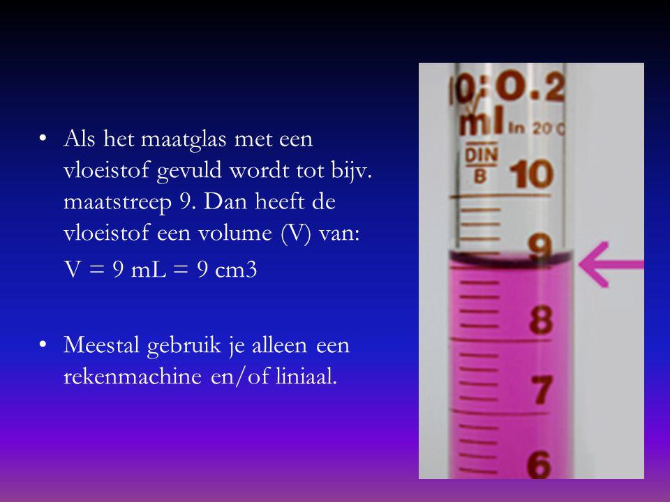 Hoe bereken je het volume? Volumes bereken je vaak met een maatcilinder (maatglas). Bijv: Als je zelf een cake of pudding wilt maken, dan moet je de s
