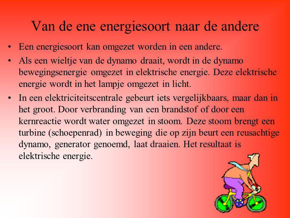 Andere energiesoorten Elektrische energie Stralingsenergie (zonne-energie) Thermische energie (warmte) Dat warmte een energiesoort is kun je als volgt