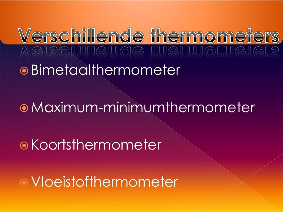  Bimetaalthermometer  Maximum-minimumthermometer  Koortsthermometer  Vloeistofthermometer