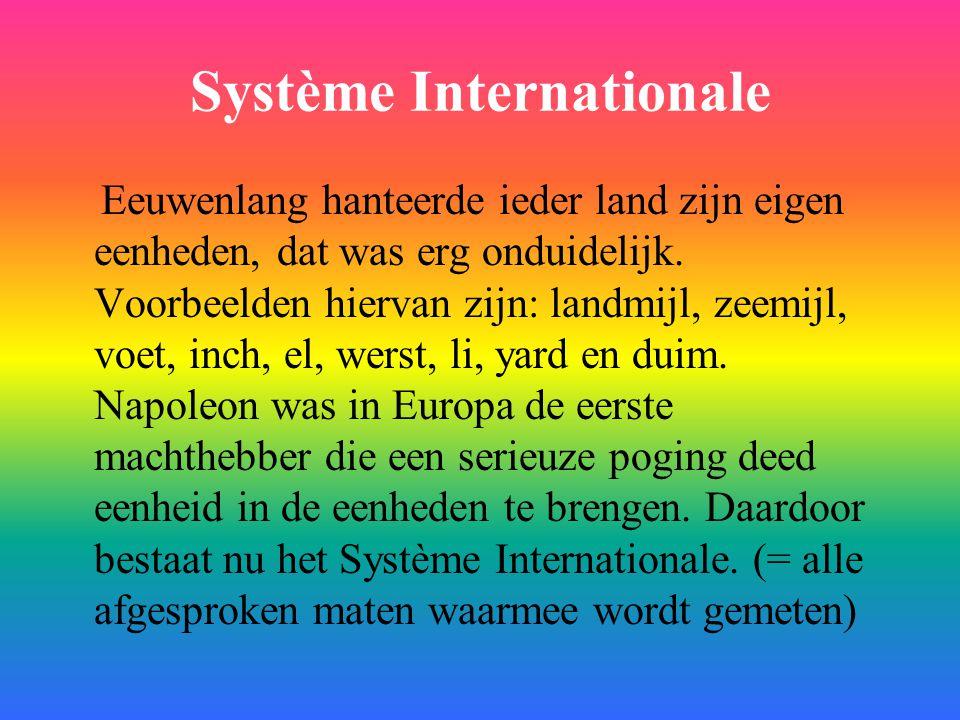 Système Internationale Eeuwenlang hanteerde ieder land zijn eigen eenheden, dat was erg onduidelijk. Voorbeelden hiervan zijn: landmijl, zeemijl, voet