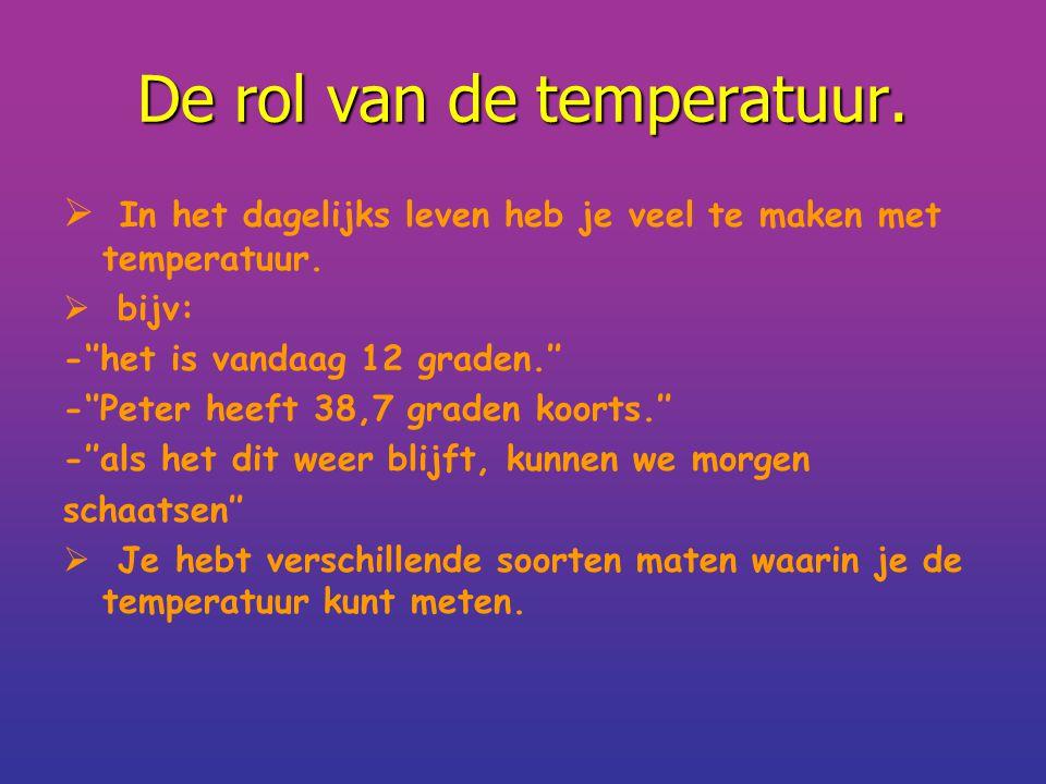 De rol van de temperatuur.  In het dagelijks leven heb je veel te maken met temperatuur.  bijv: -''het is vandaag 12 graden.'' -''Peter heeft 38,7 g