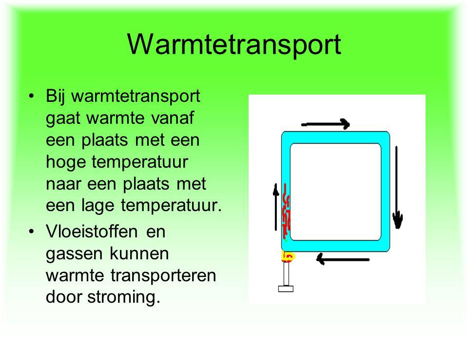 Warmtetransport Bij warmtetransport gaat warmte vanaf een plaats met een hoge temperatuur naar een plaats met een lage temperatuur. Vloeistoffen en ga