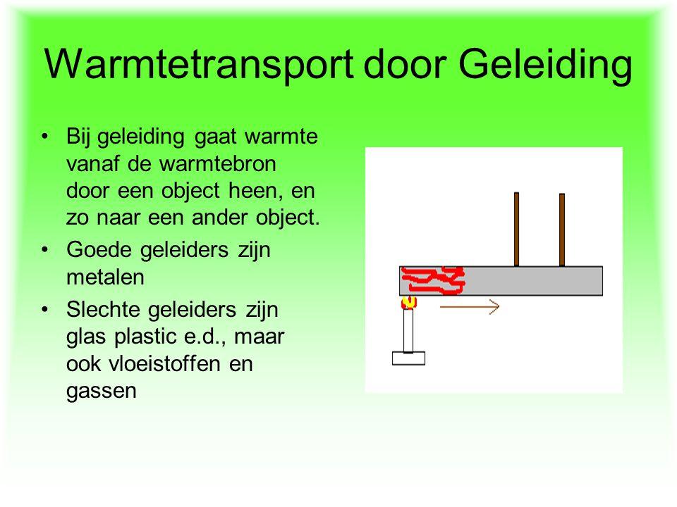 Warmtetransport door Geleiding Bij geleiding gaat warmte vanaf de warmtebron door een object heen, en zo naar een ander object. Goede geleiders zijn m