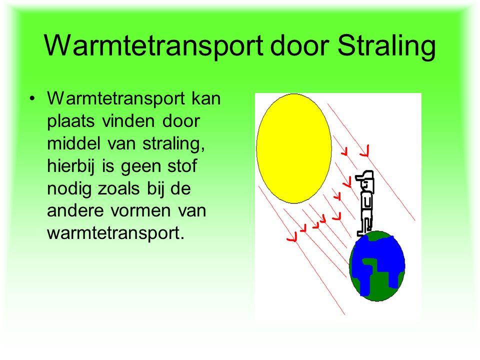 Warmtetransport door Straling Warmtetransport kan plaats vinden door middel van straling, hierbij is geen stof nodig zoals bij de andere vormen van wa