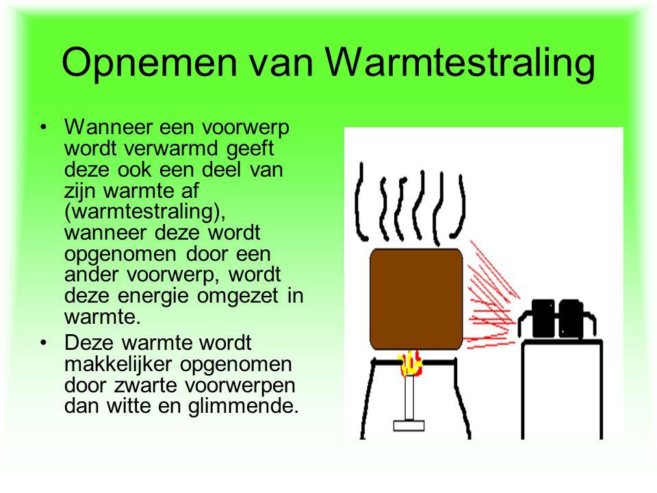Opnemen van Warmtestraling Wanneer een voorwerp wordt verwarmd geeft deze ook een deel van zijn warmte af (warmtestraling), wanneer deze wordt opgenom