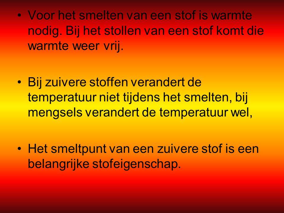 Voor het smelten van een stof is warmte nodig. Bij het stollen van een stof komt die warmte weer vrij. Bij zuivere stoffen verandert de temperatuur ni