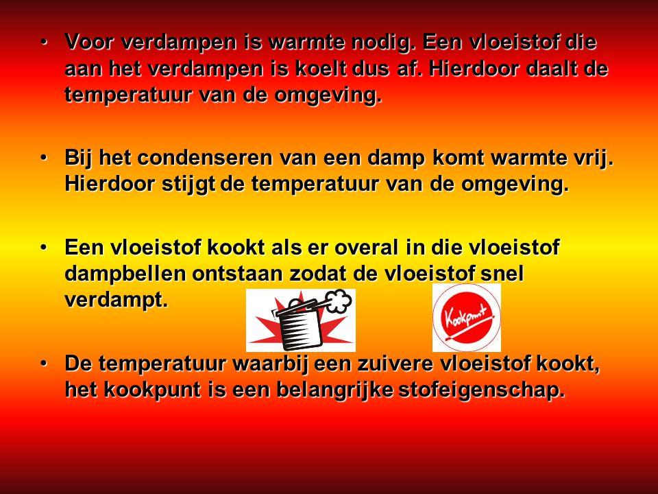 Voor verdampen is warmte nodig. Een vloeistof die aan het verdampen is koelt dus af. Hierdoor daalt de temperatuur van de omgeving. Bij het condensere