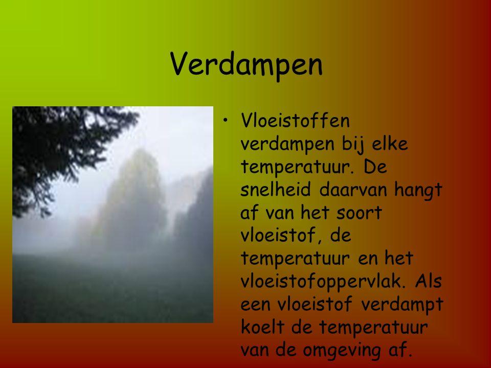 Verdampen Vloeistoffen verdampen bij elke temperatuur. De snelheid daarvan hangt af van het soort vloeistof, de temperatuur en het vloeistofoppervlak.