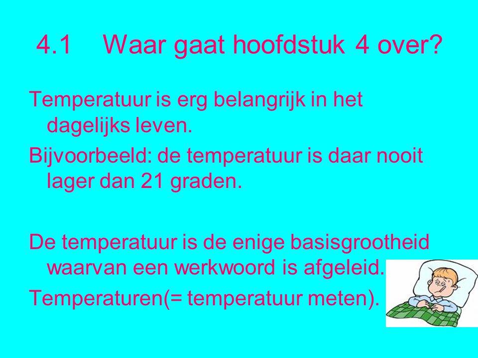 4.1 Waar gaat hoofdstuk 4 over.Temperatuur is erg belangrijk in het dagelijks leven.