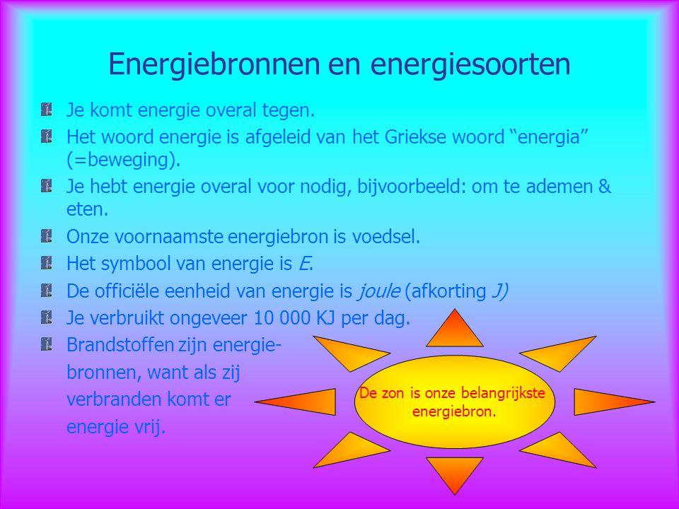 """Energiebronnen en energiesoorten Je komt energie overal tegen. Het woord energie is afgeleid van het Griekse woord """"energia"""" (=beweging). Je hebt ener"""