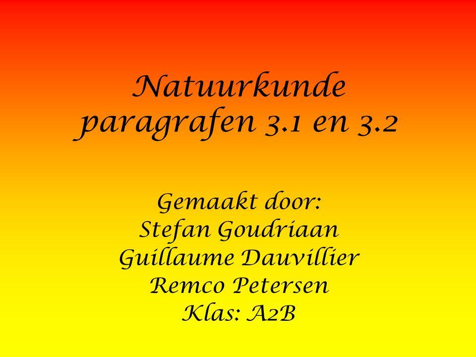 Natuurkunde paragrafen 3.1 en 3.2 Gemaakt door: Stefan Goudriaan Guillaume Dauvillier Remco Petersen Klas: A2B