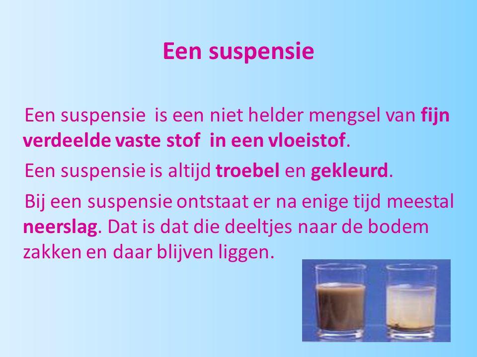 Een suspensie Een suspensie is een niet helder mengsel van fijn verdeelde vaste stof in een vloeistof. Een suspensie is altijd troebel en gekleurd. Bi