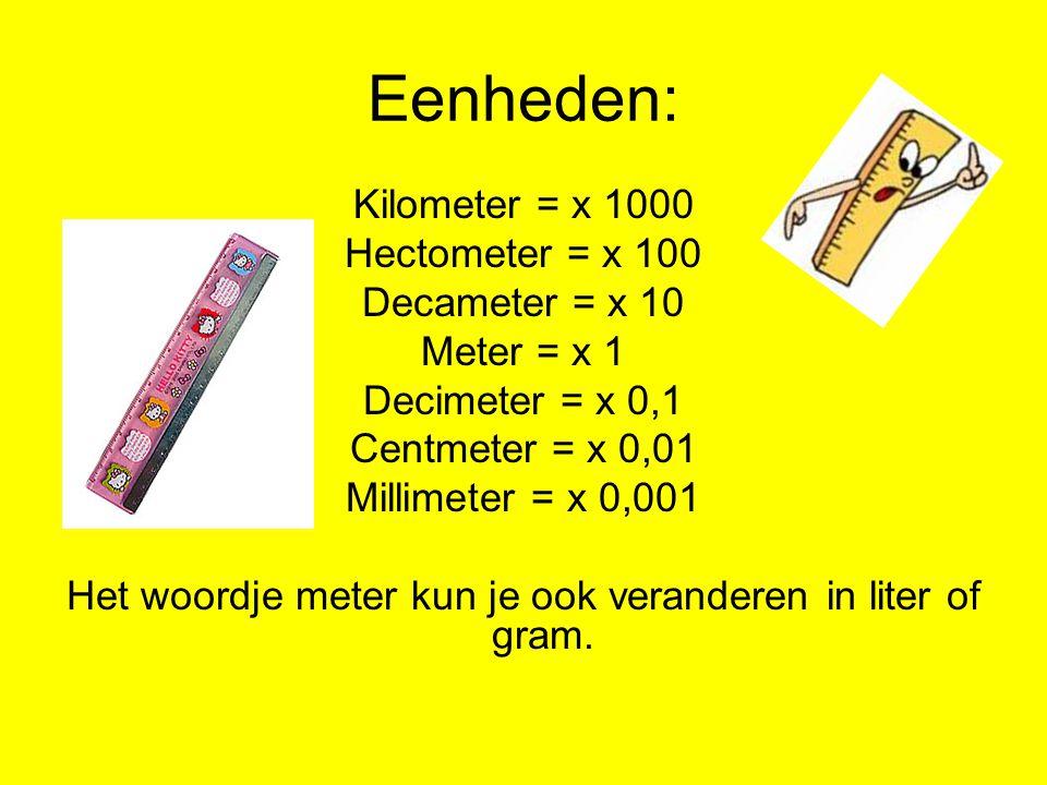 Eenheden: Kilometer = x 1000 Hectometer = x 100 Decameter = x 10 Meter = x 1 Decimeter = x 0,1 Centmeter = x 0,01 Millimeter = x 0,001 Het woordje met