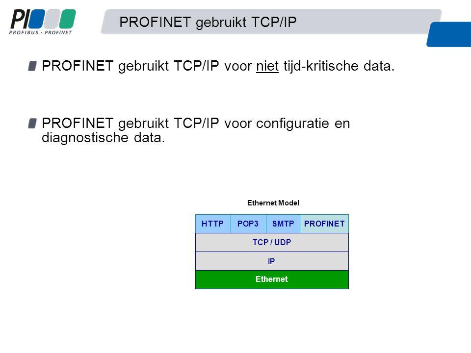 PROFINET gebruikt TCP/IP PROFINET gebruikt TCP/IP voor niet tijd-kritische data.