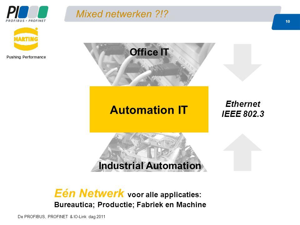 De PROFIBUS, PROFINET & IO-Link dag 2011 10 Mixed netwerken ?!? Eén Netwerk voor alle applicaties: Bureautica; Productie; Fabriek en Machine Office IT