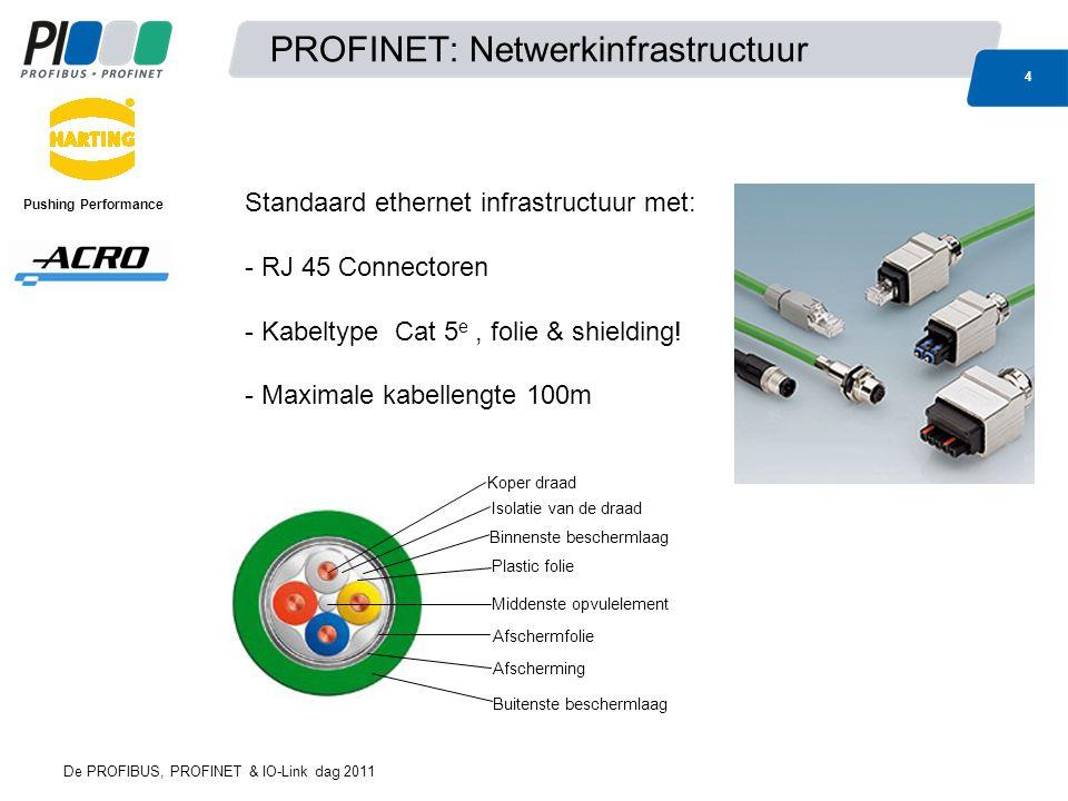 PROFINET: Netwerkinfrastructuur 4 De PROFIBUS, PROFINET & IO-Link dag 2011 Pushing Performance Standaard ethernet infrastructuur met: - RJ 45 Connectoren - Kabeltype Cat 5 e, folie & shielding.