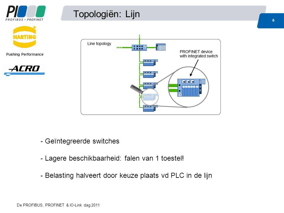 Topologiën: Ster 7 De PROFIBUS, PROFINET & IO-Link dag 2011 Pushing Performance - Centrale switch - Hoge beschikbaarheid (switch met redundante voeding) - Belasting: lijn naar controller is meest belaste punt