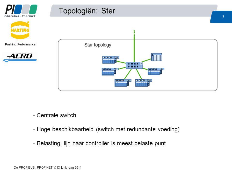 Topologiën: Ster 7 De PROFIBUS, PROFINET & IO-Link dag 2011 Pushing Performance - Centrale switch - Hoge beschikbaarheid (switch met redundante voedin
