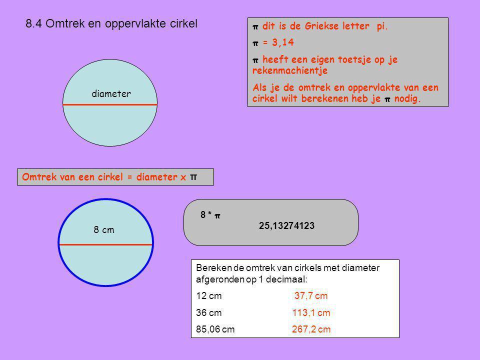 8.4 Omtrek en oppervlakte cirkel Omtrek van een cirkel = diameter x π π dit is de Griekse letter pi.