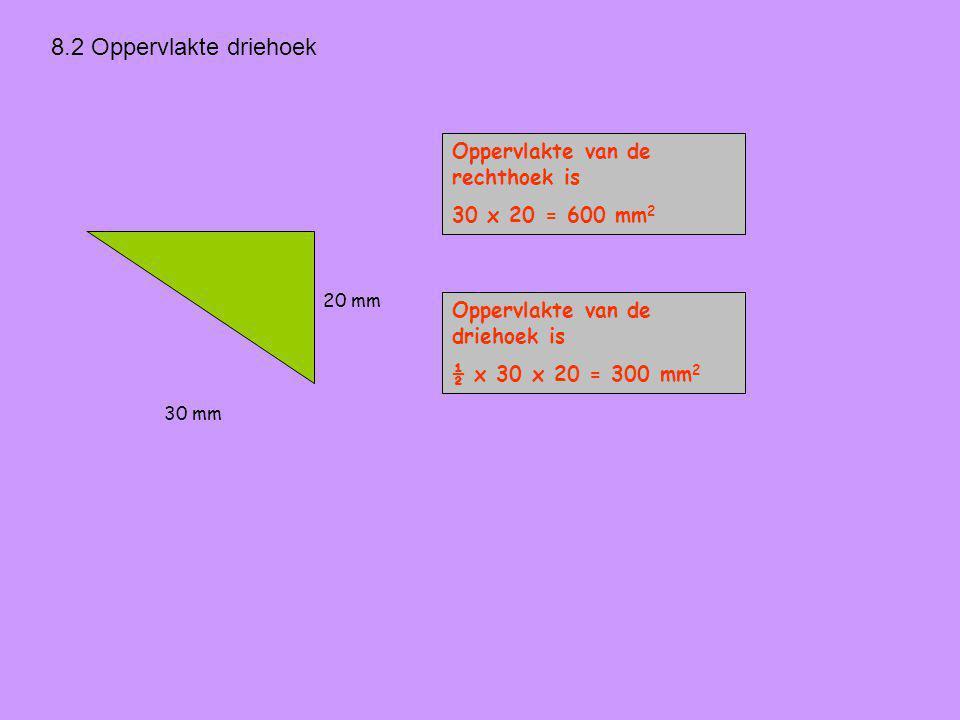 8.2 Oppervlakte driehoek 20 mm Oppervlakte van de rechthoek is 30 x 20 = 600 mm 2 Oppervlakte van de driehoek is ½ x 30 x 20 = 300 mm 2 30 mm