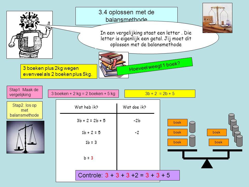 3.4 oplossen met de balansmethode In een vergelijking staat een letter.