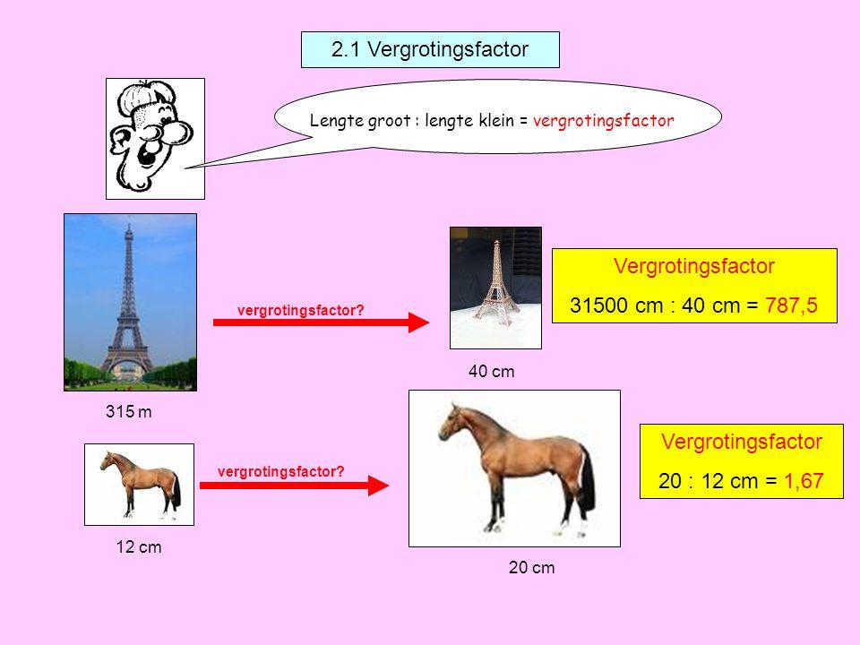vergrotingsfactor? 2.1 Vergrotingsfactor Lengte groot : lengte klein = vergrotingsfactor 315 m 40 cm Vergrotingsfactor 31500 cm : 40 cm = 787,5 12 cm
