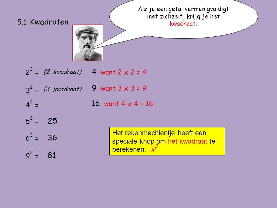 5.1 Kwadraten Als je een getal vermenigvuldigt met zichzelf, krijg je het kwadraat. 2 2 = (2 kwadraat) 4 want 2 x 2 = 4 3 2 = (3 kwadraat) 9 want 3 x
