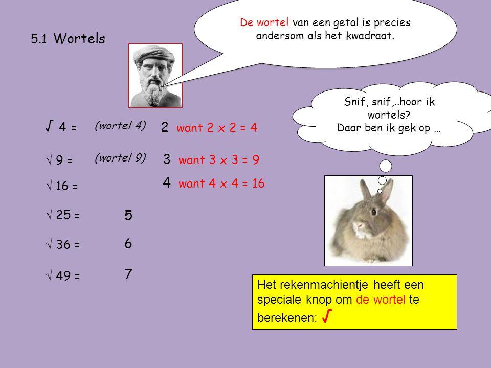 5.1 Wortels De wortel van een getal is precies andersom als het kwadraat. √ 4 =√ 4 = (wortel 4) 2 want 2 x 2 = 4 √ 9 = (wortel 9) 3 want 3 x 3 = 9 √ 1
