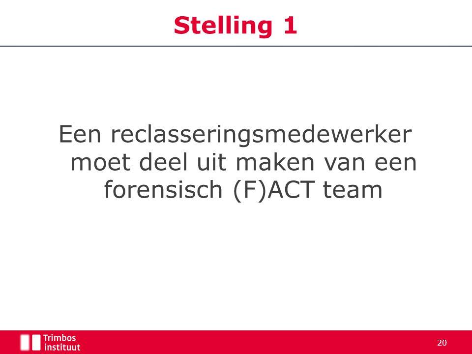 Een reclasseringsmedewerker moet deel uit maken van een forensisch (F)ACT team Stelling 1 20