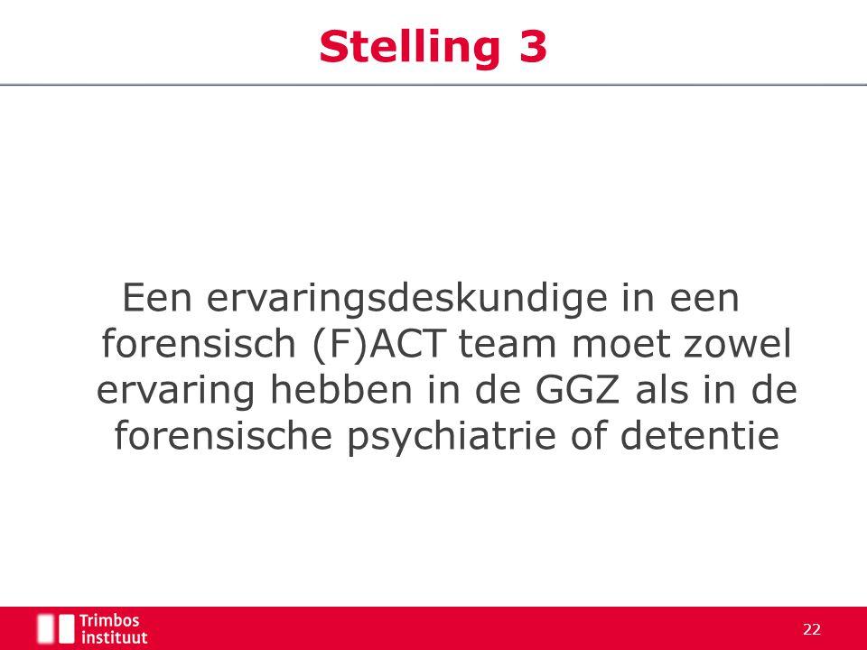 Een ervaringsdeskundige in een forensisch (F)ACT team moet zowel ervaring hebben in de GGZ als in de forensische psychiatrie of detentie Stelling 3 22