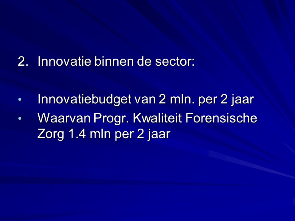 2.Innovatie binnen de sector: Innovatiebudget van 2 mln.
