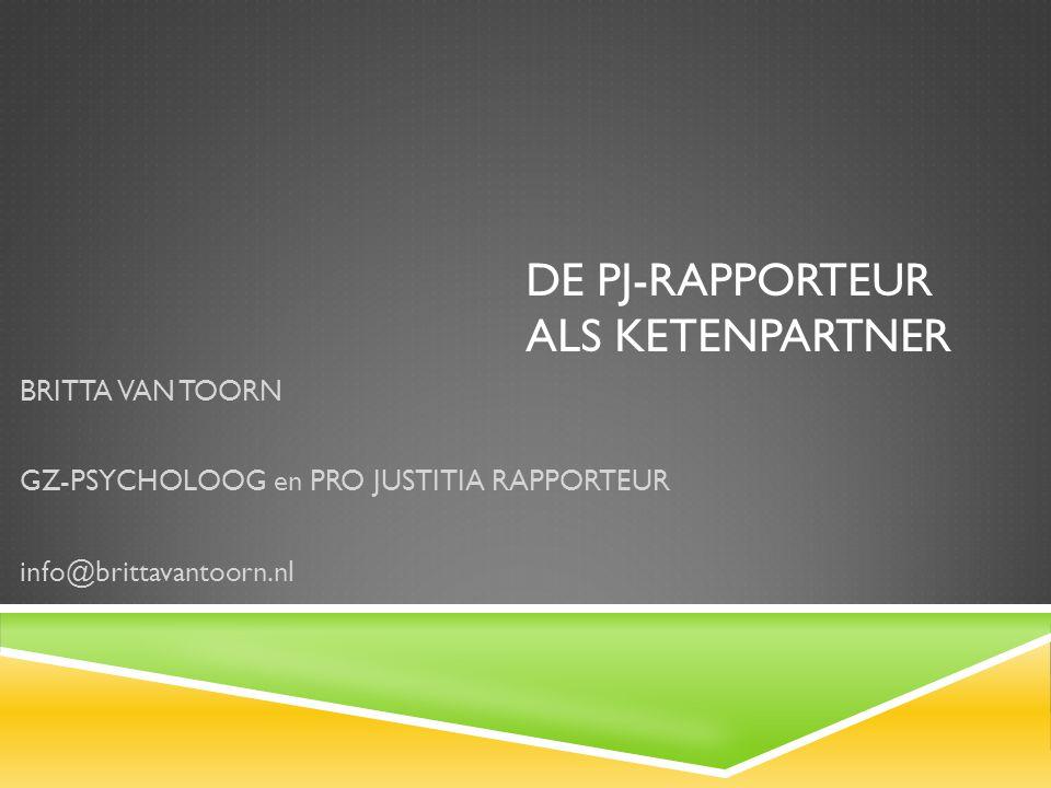 DE PJ-RAPPORTEUR ALS KETENPARTNER BRITTA VAN TOORN GZ-PSYCHOLOOG en PRO JUSTITIA RAPPORTEUR info@brittavantoorn.nl