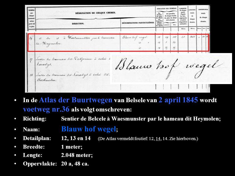 In de Atlas der Buurtwegen van Belsele van 2 april 1845 wordt voetweg nr.36 als volgt omschreven: Richting:Sentier de Belcele à Waesmunster par le hameau dit Heymolen; Naam: Blauw hof wegel ; Detailplan:12, 13 en 14 (De Atlas vermeldt foutief: 12, 14, 14.