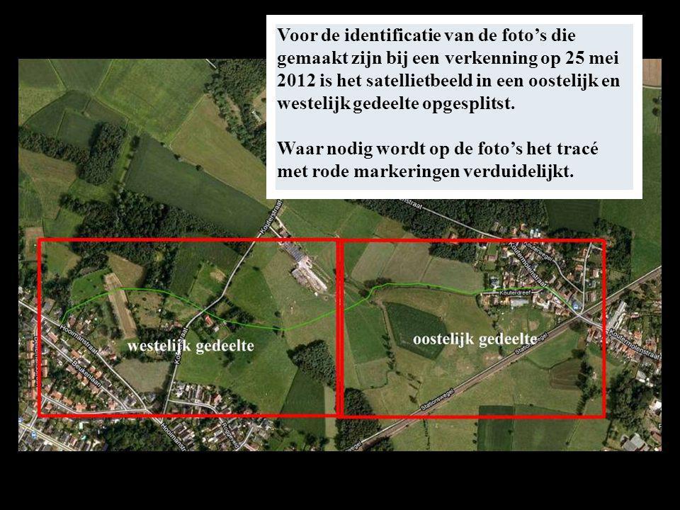 Voor de identificatie van de foto's die gemaakt zijn bij een verkenning op 25 mei 2012 is het satellietbeeld in een oostelijk en westelijk gedeelte opgesplitst.