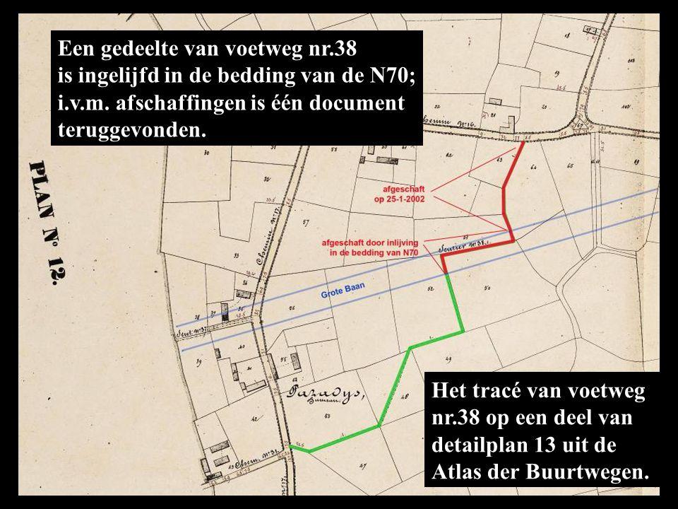 Het tracé van voetweg nr.38 op een deel van detailplan 13 uit de Atlas der Buurtwegen.