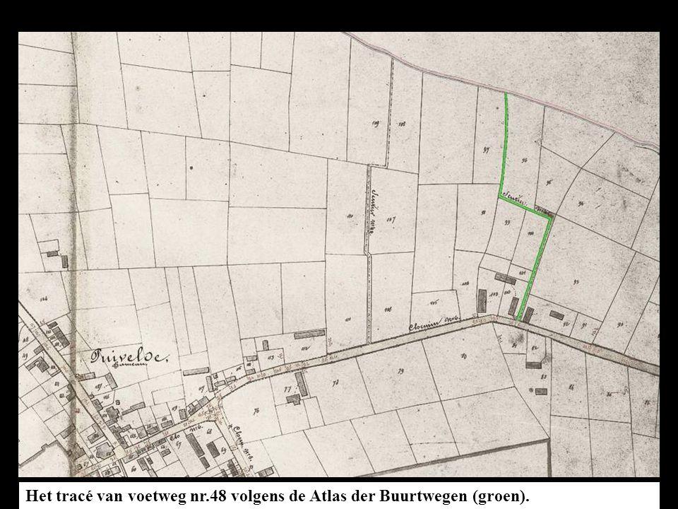 Het tracé van voetweg nr.48 volgens de Atlas der Buurtwegen (groen). In de GIS-databank zijn geen wijzigingen aan voetweg nr.48 terug te vinden.