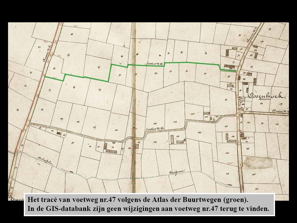 Het tracé van voetweg nr.47 volgens de Atlas der Buurtwegen (groen).