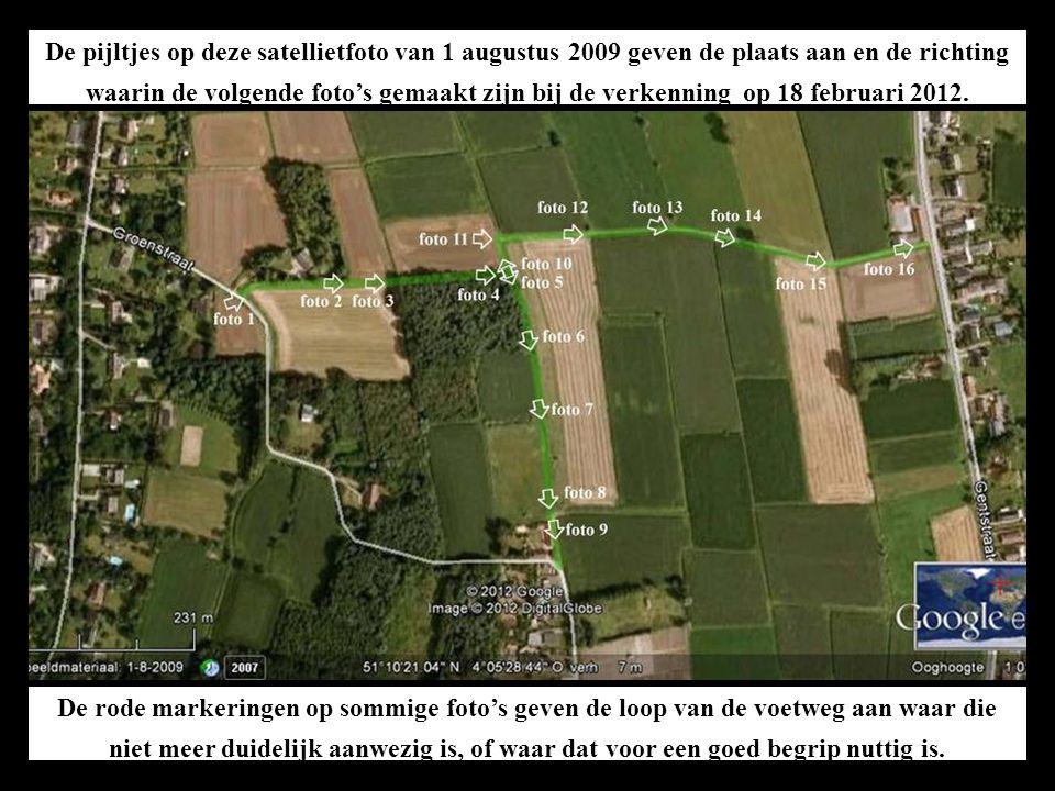 De pijltjes op deze satellietfoto van 1 augustus 2009 geven de plaats aan en de richting waarin de volgende foto's gemaakt zijn bij de verkenning op 18 februari 2012.