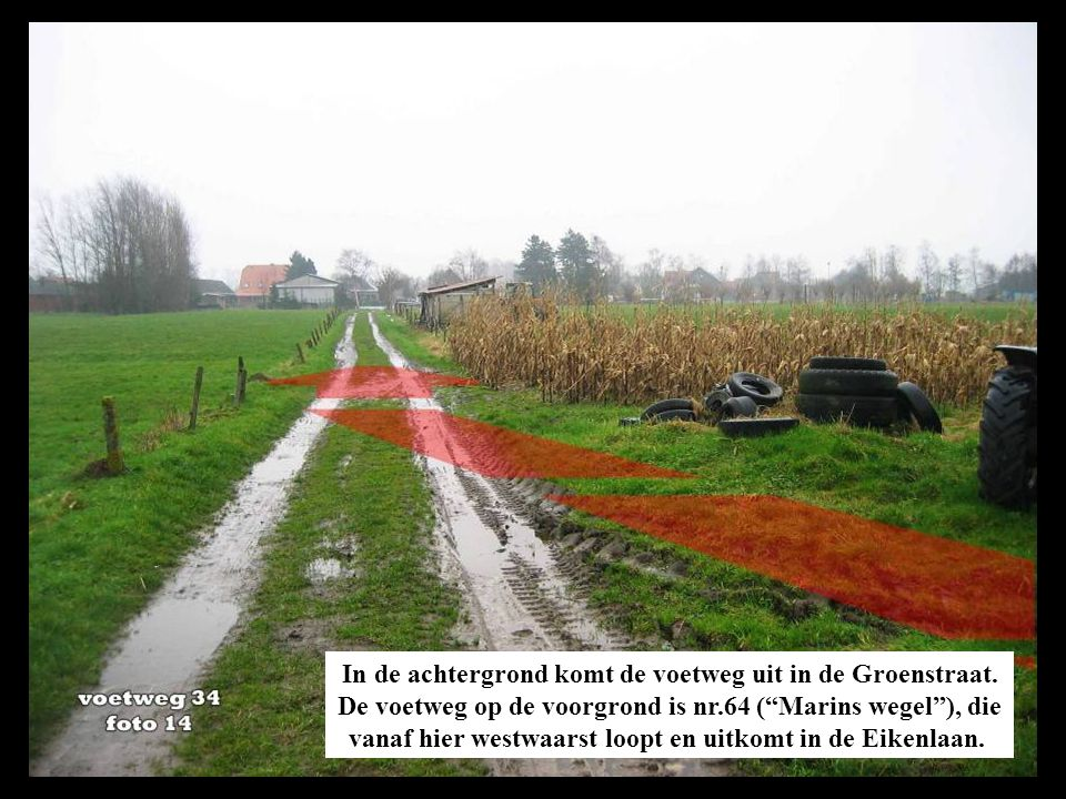 In de achtergrond komt de voetweg uit in de Groenstraat.