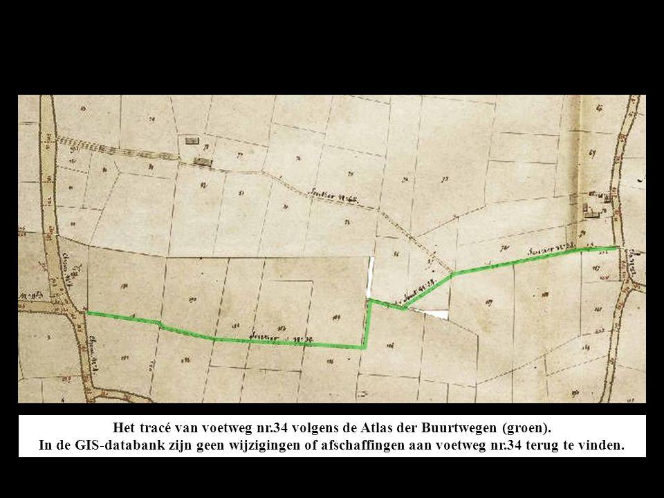 Het tracé van voetweg nr.34 volgens de Atlas der Buurtwegen (groen).